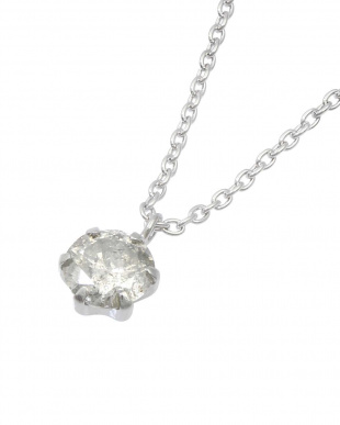 Pt/SV 天然ダイヤモンド 0.3ct 6本爪 一粒ネックレス見る