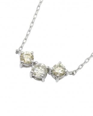 SV 天然ダイヤモンド 0.3ct スリーストーン SVネックレス見る