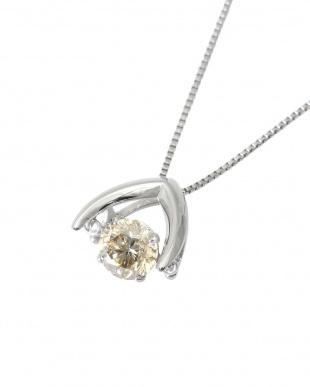 Pt 天然ダイヤモンド シャンパンカラー 大粒0.5ctアップ ダンシング ネックレス見る