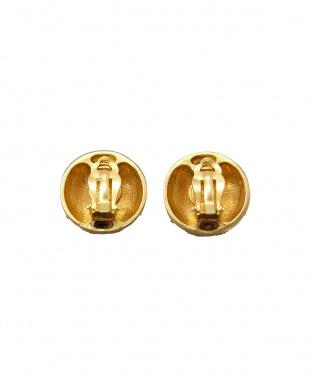 ゴールド ストーン調装飾ココマークイヤリング見る