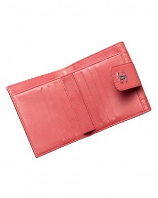 コーラルピンク系 アイコン折り財布見る