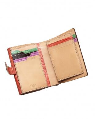 レッド  クロコ型押し 二つ折り財布見る