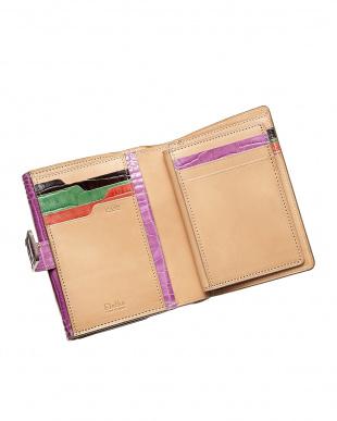 パープル  二つ折り財布 クロコ型押し見る