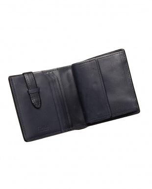 ネイビー  二つ折り財布・カバロ 馬革(カギ差しポケット付)|UNISEX見る