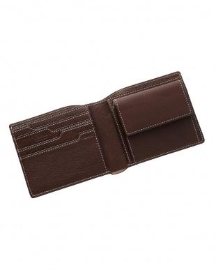 ブラウン  二つ折り財布 オイルレザー見る