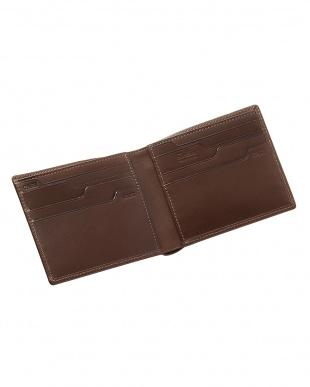 ブラウン  純札入れ・二つ折り財布 牛革キップ見る