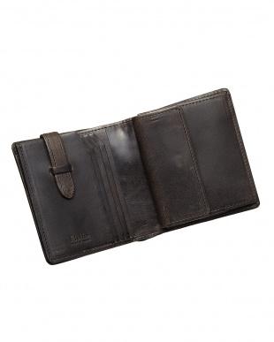 ブラック  二つ折り財布・カバロ 馬革(カギ差しポケット付)|UNISEX見る