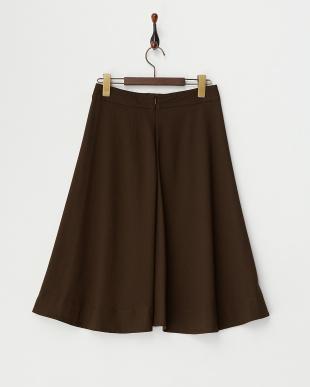 ブラウン  フロントボタンフレアスカート見る