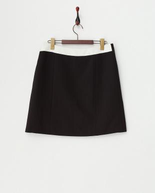 ブラック バイカラーラップスカート見る