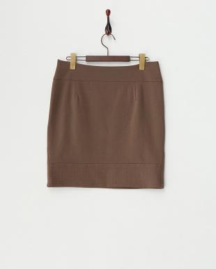 ブラウン  ステッチラインタイトスカート見る