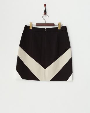 ホワイト バイアス配色切り替えスカート見る