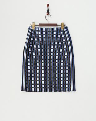 ブルー フェイクレザー使いチェックデザインスカート見る
