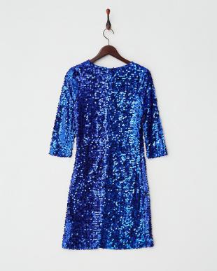 ブルー スパンコールストレッチドレス見る
