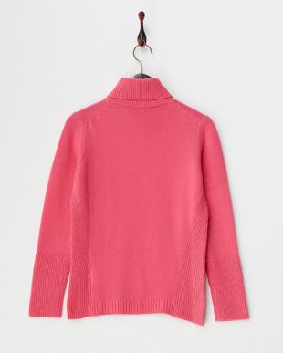 ピンク ウールカシミヤ メリヤス×畦編み タートルネックプルオーバー見る
