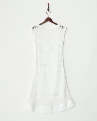 ホワイト コットンかぎ針編みドレス見る