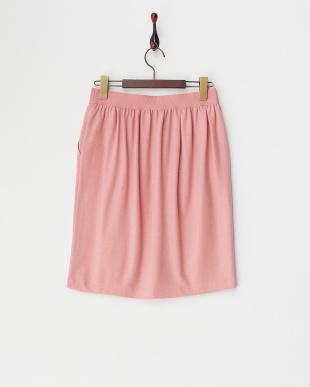 ピンク ウール天竺ゴムギャザースカート見る