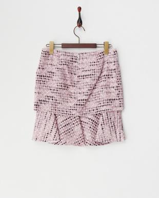 ピンク ラフツイードレイヤー裾フレアスカート見る