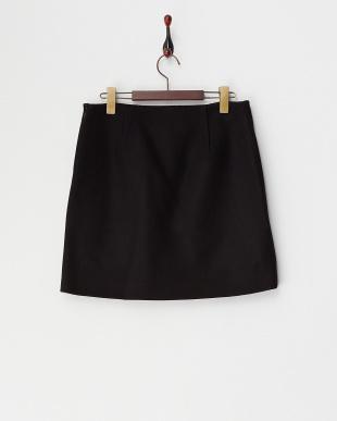 ブラック ヘビーメルトン台形スカート見る