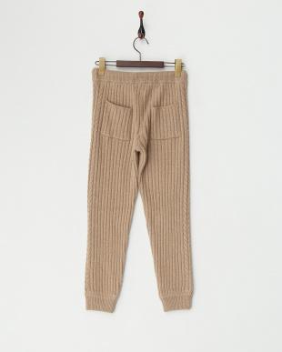 BEIGE  サイド縄編みアンゴラウール混リブ編みパンツ見る