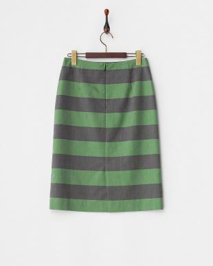 グリーン×ブラック ビッグボーダースカート見る
