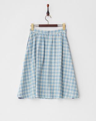 サックス ギンガム ウールスカート見る