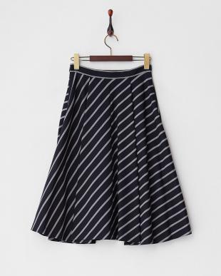 ネイビー  シングルストライプフレアスカート見る