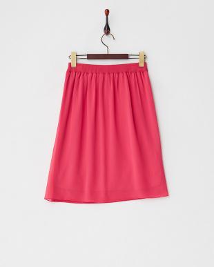 ピンク  フラワースパングルビジューニットスカート見る
