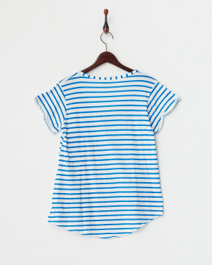BLUE MID  11/30S SLUB STRIPE WIDE NECK TEE見る
