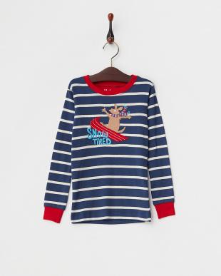 ネイビー SNOW TIREDパジャマ上下セット KIDS見る