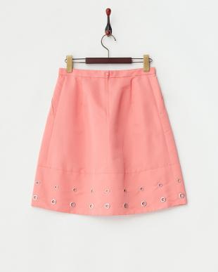 ピンク  ハイマルチタッサー裾ハトメ使いタックスカート見る