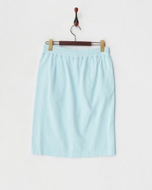 ブルー ミニ裏毛ドロストスカート見る