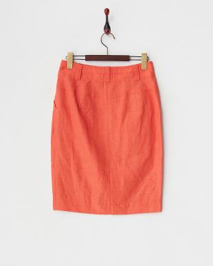 オレンジ リネン混ストレッチフロントジップタイトスカート見る