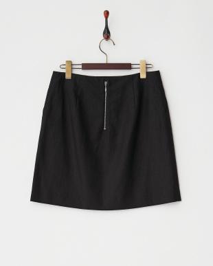 ブラック  リネンコットン台形スカート見る