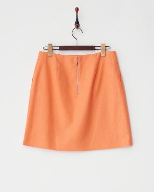 オレンジ  リネンコットン台形スカート見る
