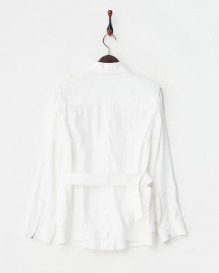 ホワイト  リネンレーヨンツイルフィールドジャケット見る