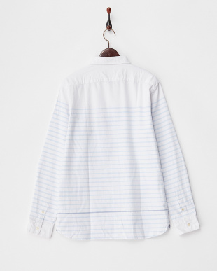 ホワイト  パネルボーダーコットンシャツ見る