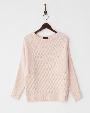 ピンク  カシミヤ手編みニット見る