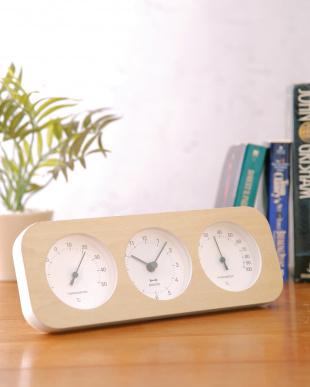 ナチュラルウッド  ウッド三連温湿時計見る