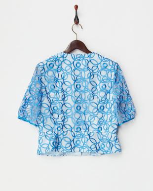ブルー サークル刺繍オーガンジーノーカラージャケット見る