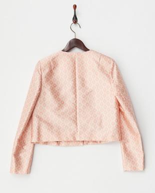 ピンク 模様織ノーカラーショートジャケット見る