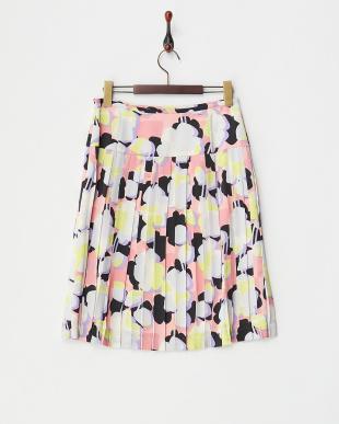 ピンク  プリントプリーツスカート見る