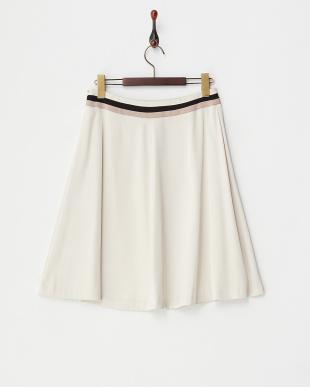ベージュ  配色ラインフレアスカート見る