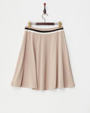 ピンクベージュ  配色ラインフレアスカート見る