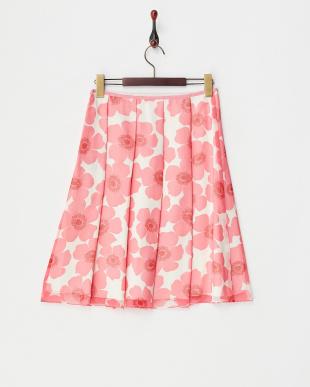 ピンク フラワープリーツスカート見る