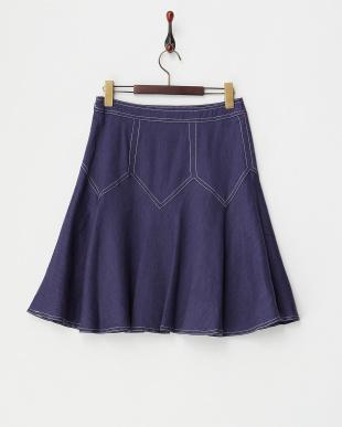 ネイビー  ジグザグ切替スカート見る