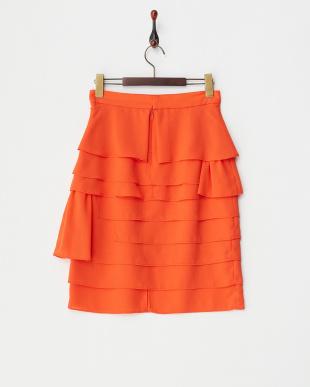 オレンジ  変形ティアードスカート見る