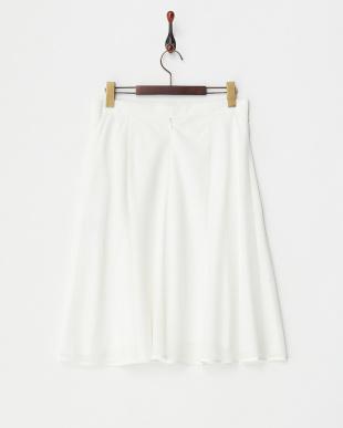 ホワイト  シアー変形ボーダーフレアスカート見る