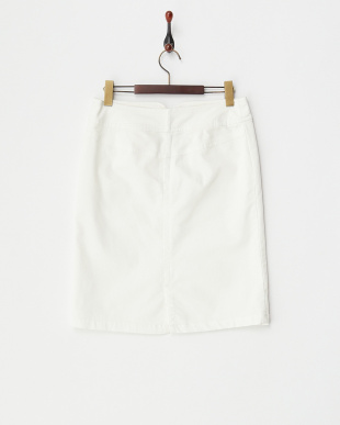 ホワイト フロントボタン付ポケットストレッチスカート見る