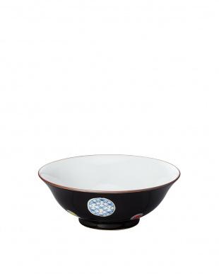 黒彩丸紋 和風麺鉢見る