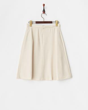 ベージュ ストレッチラメフレアスカート見る